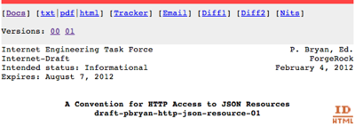 Internet Draft - A Convention for HTTP Access to JSON Resources