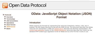 OData: JavaScript Object Notation (JSON) Format